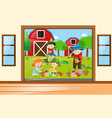many children working in the garden vector image vector image