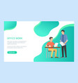 men employee character checking document vector image vector image