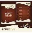 menu coffee card vector image vector image