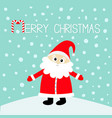 merry christmas candy cane santa claus in red hat vector image
