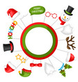 merry christmas photo booth props vector image