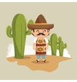 mexican man hat traditional dress design vector image vector image