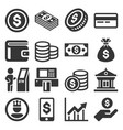 money icons set on white background vector image vector image