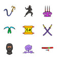 ninja art icons set cartoon style vector image vector image