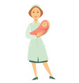 nurse with newborn baby in swaddle cartoon vector image