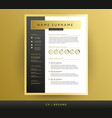 professional cv resume template in black vector image vector image