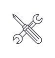 screwdriver and wrench line icon concept vector image vector image