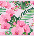 seamless floral pattern pink purple orchid vector image vector image