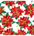seamless pattern christmas poinsettia vector image vector image