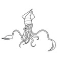 Squid ocean water animal sketch tattoo vector image