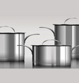 stainless steel metal cooking pans vector image