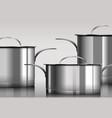 stainless steel metal cooking pans vector image