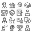 students college education icons set on white vector image vector image