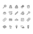sweet food flat line icons set pastry vector image