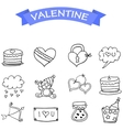 Valentine icons hand draw collection vector image vector image