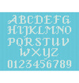 White knitted alphabet and figures vector image