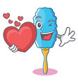 with heart feather duster character cartoon vector image vector image
