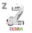 z is for zebra letter z zebra cute animal vector image