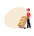 courier delivery service worker hand cart dolly vector image
