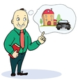 Mortgage and credit concept Man planning his vector image