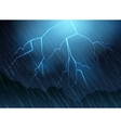 Lightning and rain blue background vector image