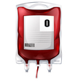 A blood bag with type O blood vector image