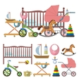 Baby room interior and set of toys for kids vector image vector image
