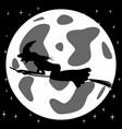 black and white style icon of witch on broomstick vector image vector image