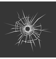 Bullet Hole in Glass Dark Background vector image vector image