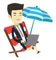business man working on laptop at the beach vector image vector image