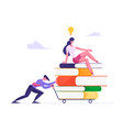 businessman pushing heavy trolley with heap vector image vector image