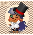 Character hedgehog boy in hat cartoon series vector image