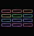 colorful neon light frames set on dark background vector image vector image
