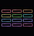 colorful neon light frames set on dark background vector image