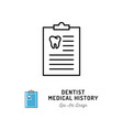 dentist medical history icon dentists notebook vector image