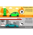 electric vehicle and gasoline car fueling vector image