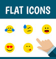 flat icon emoji set of love tears delicious food vector image vector image