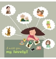 Girl thinks about her relatives vector image vector image