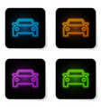 glowing neon car icon isolated on white vector image