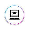 graduation cap and laptop icon online learning or vector image vector image