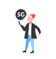 guy using smartphone 5g online communication fifth vector image vector image