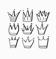 hand-drawn doodle style childlike crown icons set vector image