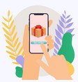 hand holding mobile smart phone with delivery app vector image