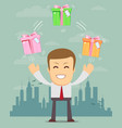 happy man juggling gift box with bow vector image vector image