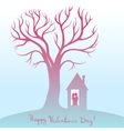 Happy Valentines Day Card with tree of love vector image vector image