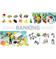 isometric banking elements set vector image