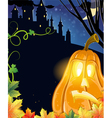 Jack O Lantern near the castle vector image vector image