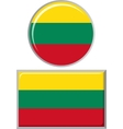 Lithuanian round and square icon flag vector image