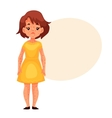 Little girl in yellow dress having chickenpox vector image