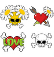 Love and death Set elements Skull and red heart vector image